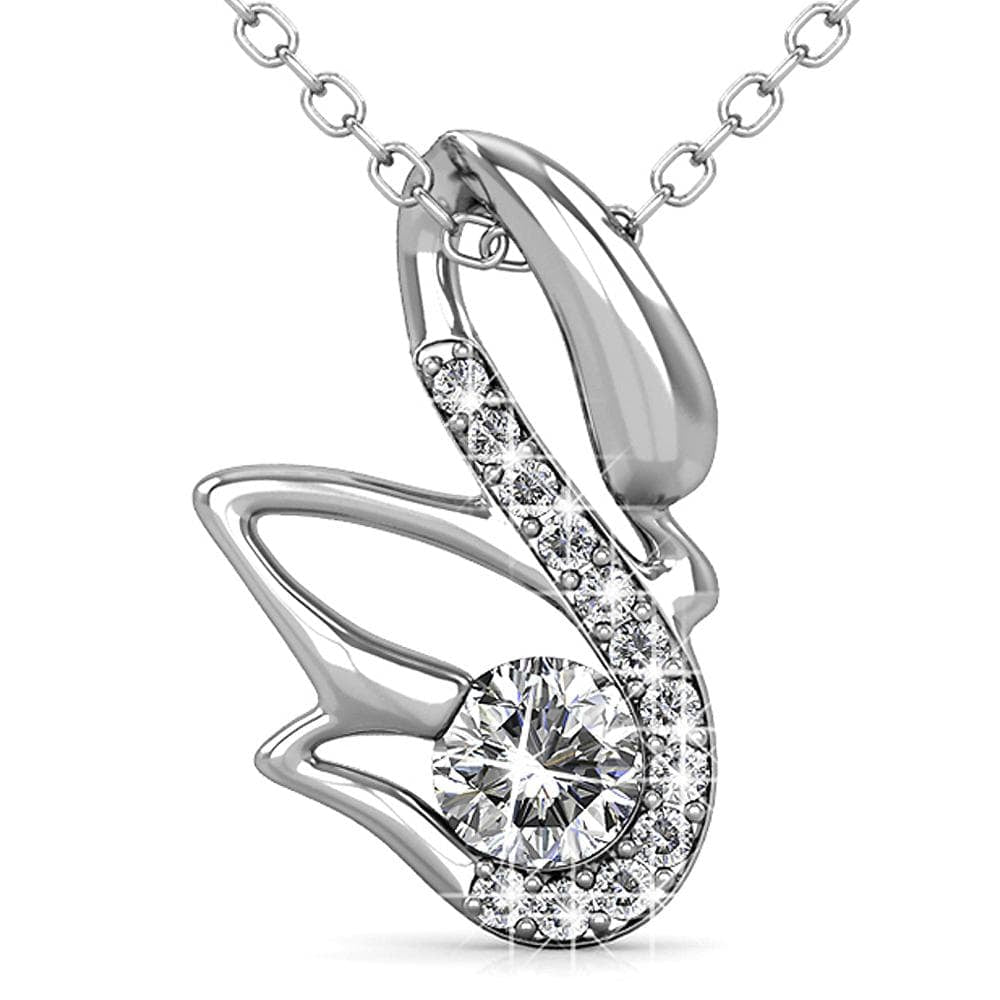 Glittery Swan Necklace Embellished with Swarovski crystals - Brilliant Co