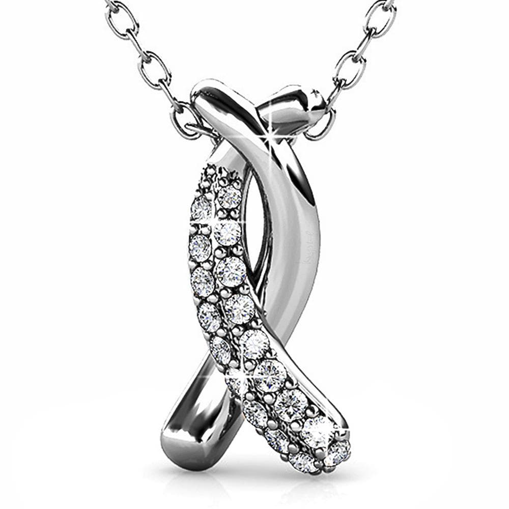 Intertwined White Gold Pendant Necklace Embellished with Swarovski® Crystals - Brilliant Co