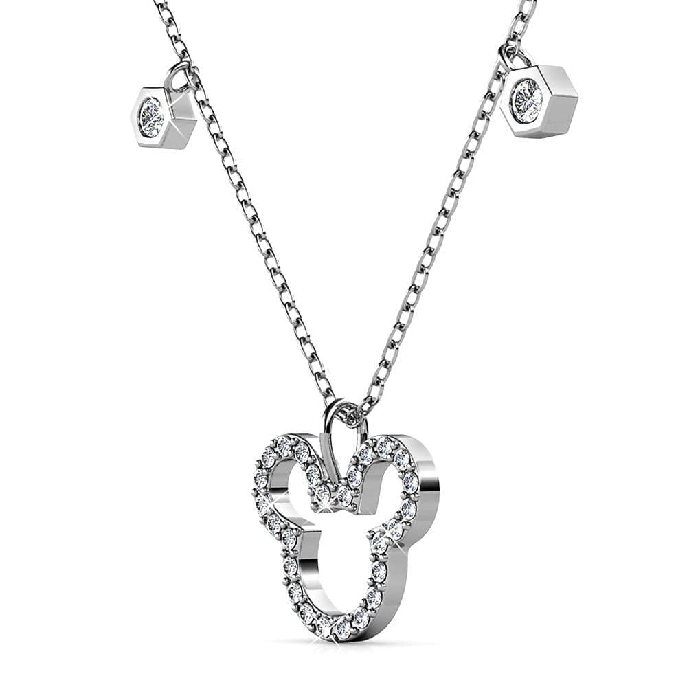 Mickey Silhouette Pendant Necklace Embellished With Swarovski® Crystals - Brilliant Co