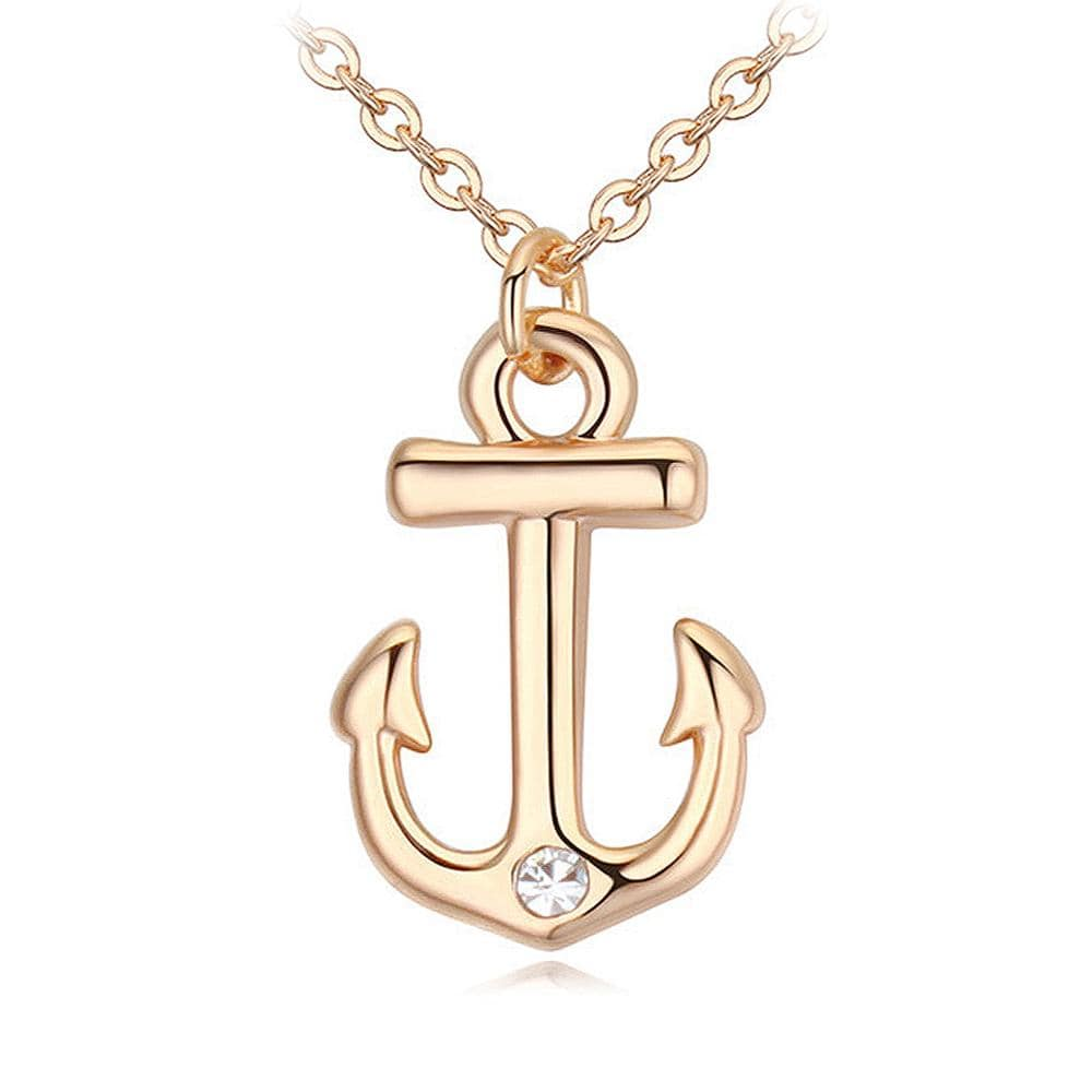 Mighty Anchor Necklace Embellished with Swarovski crystals - Brilliant Co