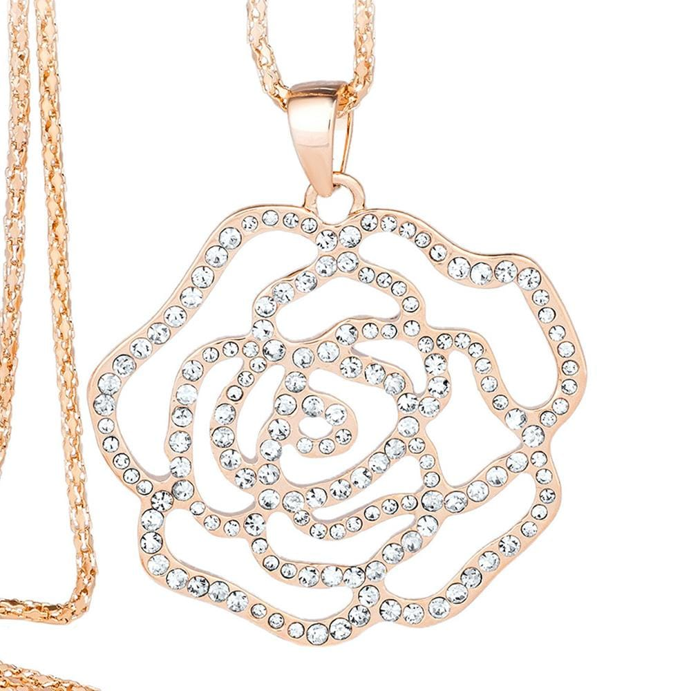 Rose Blossom Long Necklace Clear Embellished with Swarovski crystals - Brilliant Co