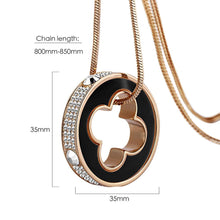 Load image into Gallery viewer, Clover Ring Charm Long Necklace Embellished with Swarovski crystals - Brilliant Co