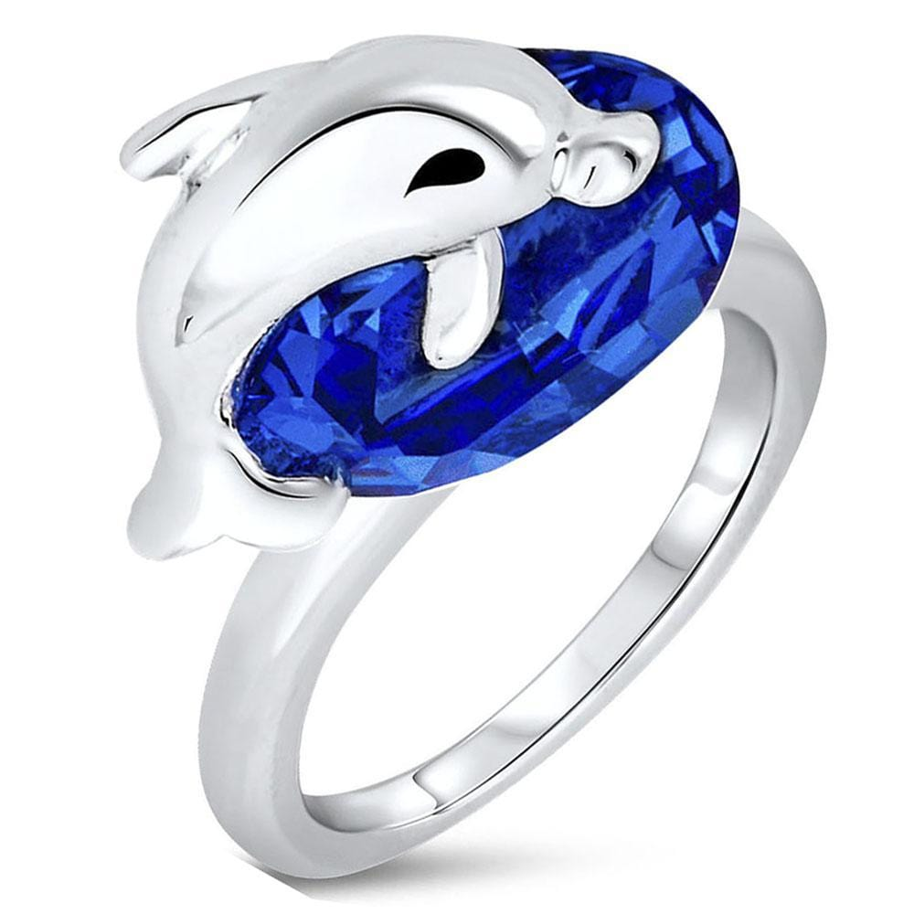 Dolphin Blue Ring Embellished with Swarovski crystals