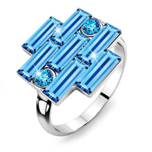 Alana Cocktail Ring Blue Embellished with Swarovski crystals - Brilliant Co