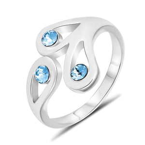 Graceful Embrace Ring Blue Embellished with Swarovski crystals - Brilliant Co