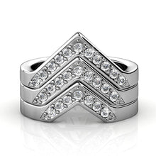 3pc V Cocktail Ring Embellished with Swarovski crystals - Brilliant Co