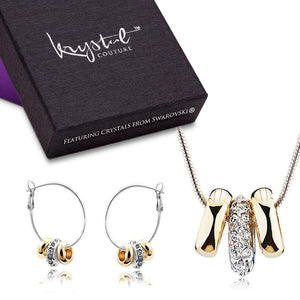 Two Tone Ring Charm Necklace and Earrings Set Embellished with Swarovski crystals - Brilliant Co