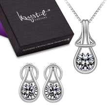 Boxed Solid 925 Sterling Silver Angel Necklace and Earrings Set Embellished with Swarovski crystals - Brilliant Co