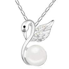 Load image into Gallery viewer, Snowwhite Swan Necklace & Earrings Set w/Swarovski Crystals & Pearls - Brilliant Co