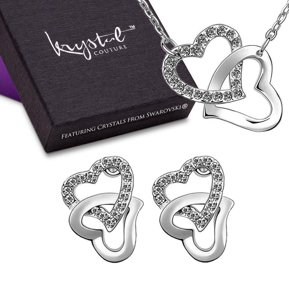 Hearts Entwined Necklace and Earrings Set Clear Embellished with Swarovski crystals - Brilliant Co