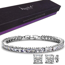 Princess Cut Tennis Bracelet and Earrings Set Embellished with Swarovski crystals - Brilliant Co