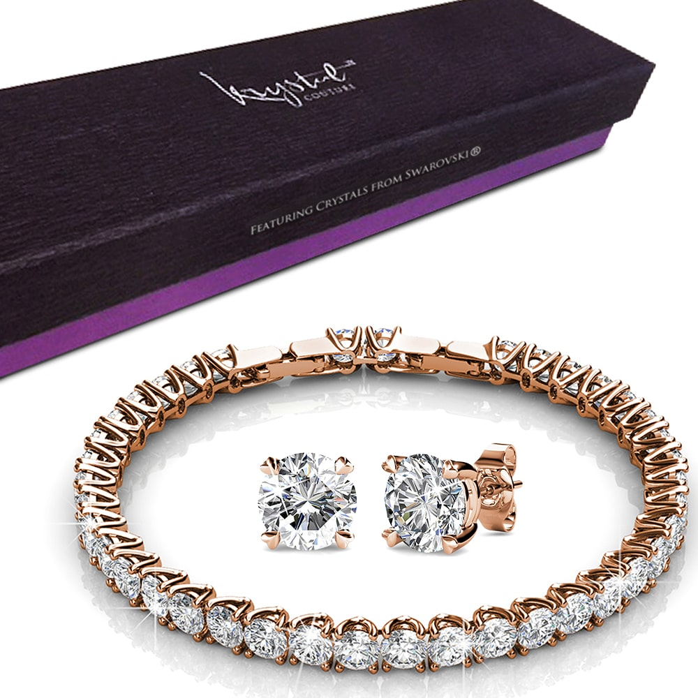 Boxed Tiffany Bracelet and Earrings Set Embellished with Swarovski crystals - Brilliant Co