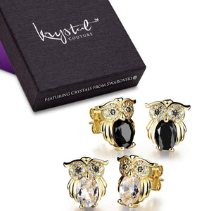 Boxed 2 Pieces Pairsof Owl Earrings Set - Brilliant Co