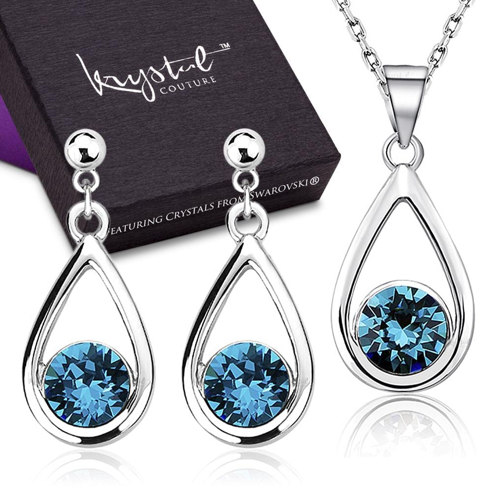 Boxed Morning Dew Necklace And Earrings Set Embellished with Swarovski crystals - Brilliant Co