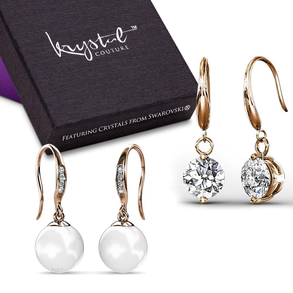 Boxed 2 Pairs Earrings Embellished with Swarovski crystals and Pearls Set - Brilliant Co