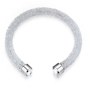 Lady In White Bangle And Earrings Set Embellished with Swarovski crystals - Brilliant Co