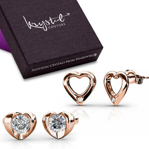 Duo Heart Earrings Set Embellished with Swarovski crystals - Brilliant Co