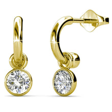 Round Bezel Drop Earrings Set Embellished with Swarovski crystals - Brilliant Co