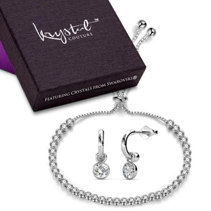 Boxed Michaella Earrings And Bracelet Set Embellished with Swarovski crystals - Brilliant Co