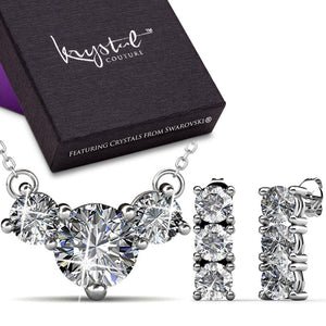 Boxed Brilliant Trilogy Necklace And Earrings Set Embellished with Swarovski crystals - Brilliant Co