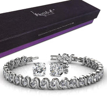 Boxed Venice Bracelet And Earrings Set White Gold Embellished with Swarovski crystals - Brilliant Co