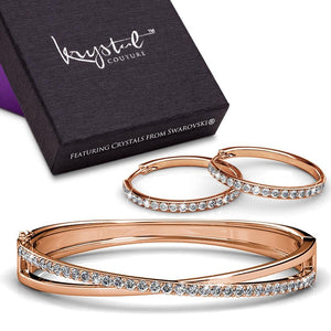 Boxed Perfection Bangle And Earrings Set Rose Gold Embellished with Swarovski crystals - Brilliant Co