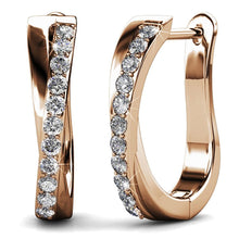 Load image into Gallery viewer, Boxed Lady Bangle And Earrings Set Rose Gold Embellished with Swarovski crystals - Brilliant Co