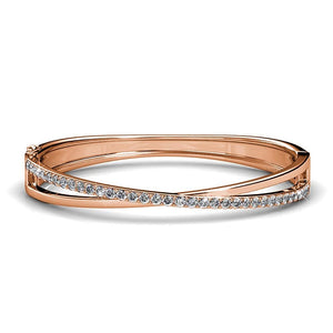 Boxed Lady Bangle And Earrings Set Rose Gold Embellished with Swarovski crystals - Brilliant Co