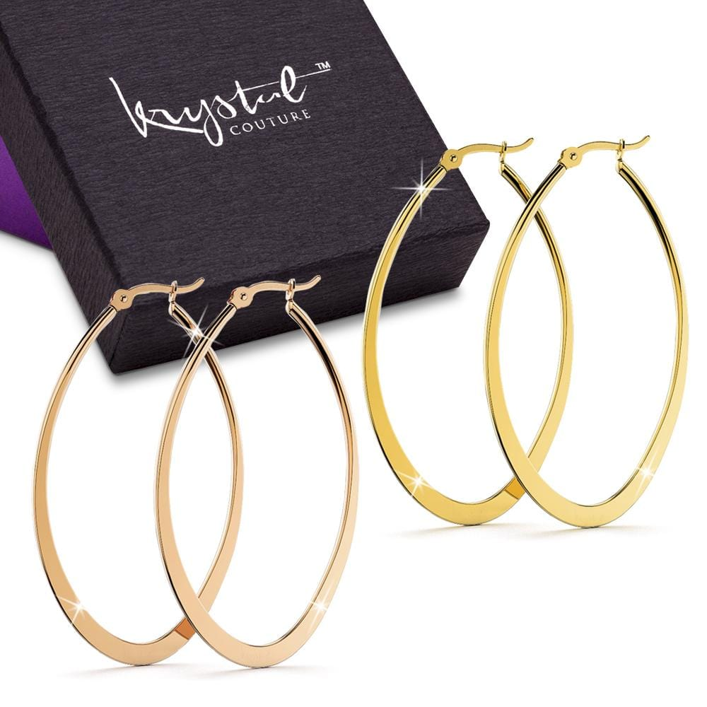 2 Prs Oval Hoop Earring Set
