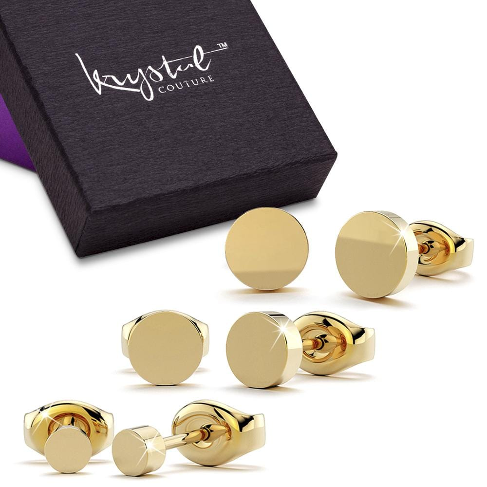 Boxed 3 Pairs Simplicity Stud Earrings Set Gold - Brilliant Co