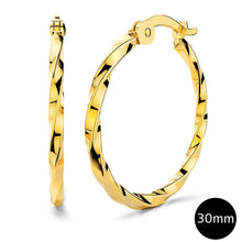 3 Prs Twisted Hoop Earring Set Gold