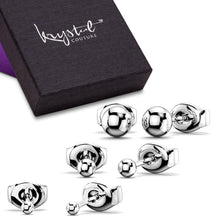 3 Prs Ball Stud Earring Set White Gold