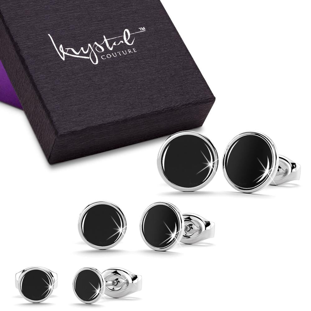 3 Prs Mitch Stud Earring Set White Gold