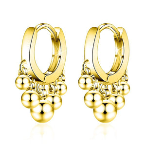 Boxed 2 Pair Set Bohemian Ball Charm Huggie Earrings in Silver and Gold Plated - Brilliant Co