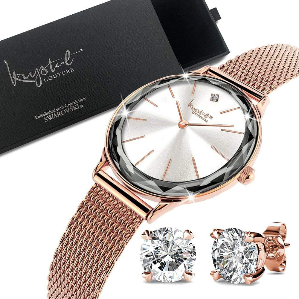 Boxed of Krystal Couture Mineral Glass Watch with Earrings Embellished with Crystals from Swarovski Set in Rose Gold - Brilliant Co