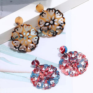 Boxed 2 Pairs Kaleidoscopic Acetone Statement Earrings Set