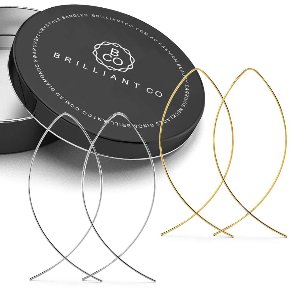 Boxed 2 Pairs of Fish Hoop Earrings in Silver & Gold Plated - Brilliant Co