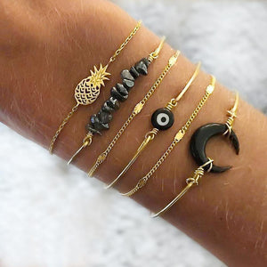 Boxed Bohemian Multi Layered Charm Bead Bracelet and Hoop Gold Plated Earrings Set - Black - Brilliant Co