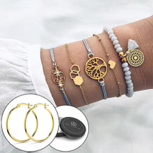Boxed Bohemian Multi Layered Charm Bead Bracelet and Hoop Gold Plated Earrings Set - Grey - Brilliant Co