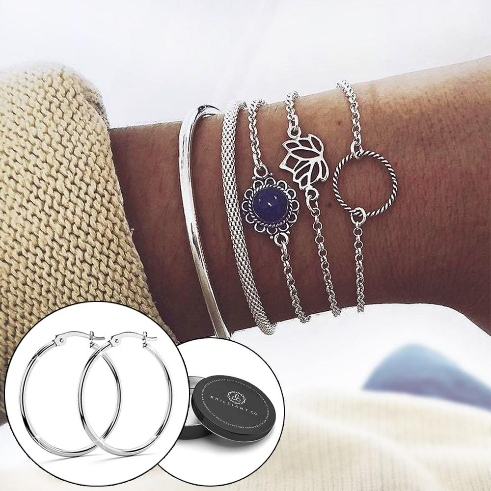 Boxed Bohemian Multi Layered Charm Bead Bracelet and Hoop White Gold Plated Earrings Set - Blue - Brilliant Co