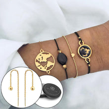 Boxed Bohemian Multi Layered Charm Bead Bracelet and Drop Gold Plated Earrings Set - Black - Brilliant Co