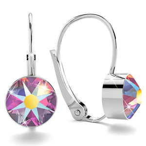 Boxed 2 pair Multi-colour Embellished with Crystals from Swarovski AB crystal White Gold Earrings