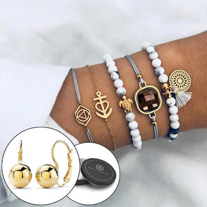 Boxed Bohemian Multi Layered Charm Bead Bracelet and Stud Gold Plated Earrings Set - White - Brilliant Co
