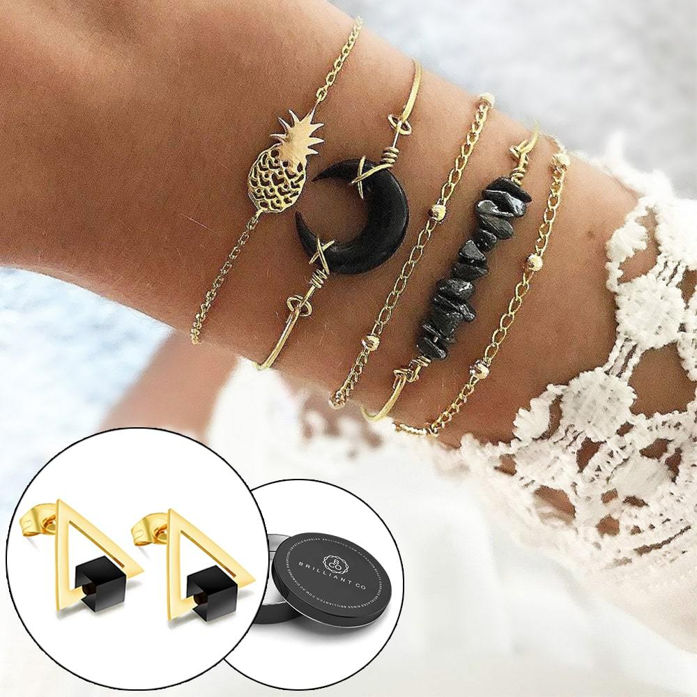 Boxed Bohemian Multi Layered Charm Bead Bracelet and Drop Earrings Set - Black - Brilliant Co