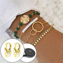 Boxed Bohemian Multi Layered Charm Bead and Drop Gold Plated Earrings Set - Green - Brilliant Co