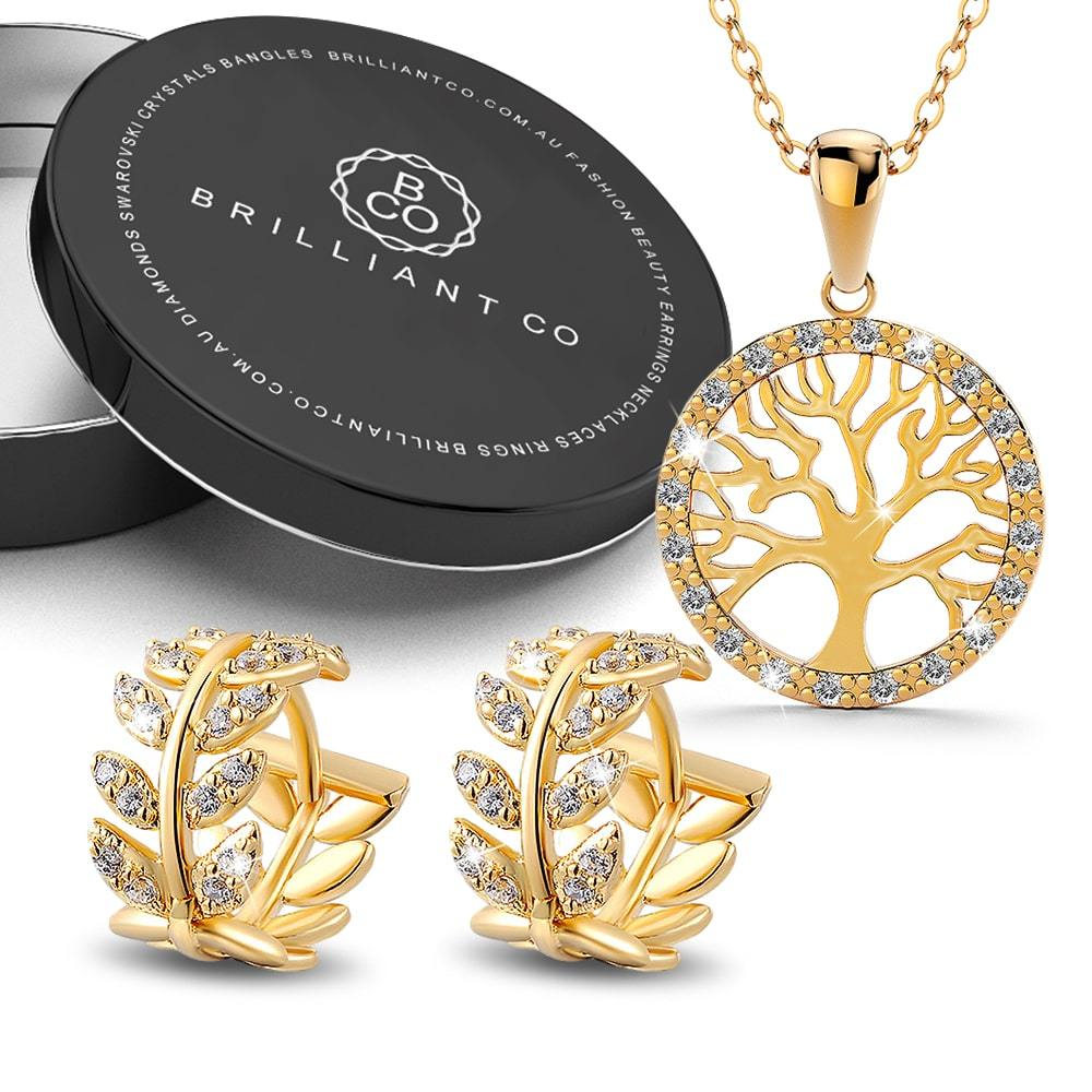 Boxed Tree In Circle of Life Pendant Necklace and Greek Leaf Huggies Earrings Set in Gold Plated - Brilliant Co