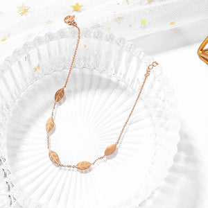 Boxed Flower Nature Earrings and Leaves Anklet Set in Rose Gold Plated - Brilliant Co