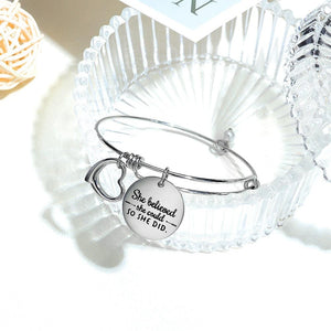 Boxed Double Inspiring Heart Love Charm White Gold Cuff and Toggle Bangle Set - Brilliant Co