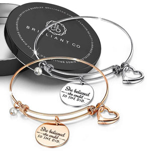 Boxed She Believed She Could Heart Heart Love Charm Toggle Bangle Set in Rose Gold and White Gold Plated - Brilliant Co