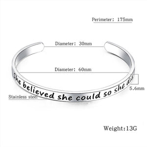 Boxed Inspirational Inscription Cuff Bangle Set in Rose Gold and White Gold Plated - Brilliant Co